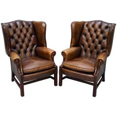 Pair of Hand Dyed Vintage Brown Leather Chesterfield Wingback Club Armchairs
