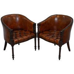 Pair of Regency Style Restored Hand dyed Chesterfield Tub Armchairs, circa 1910