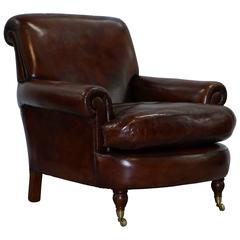 Fully Restored Vintage Whiskey Brown Leather Gentleman's Club Armchair