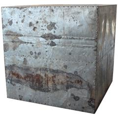 Vintage Galvanized Side Table Made from Industrial Element