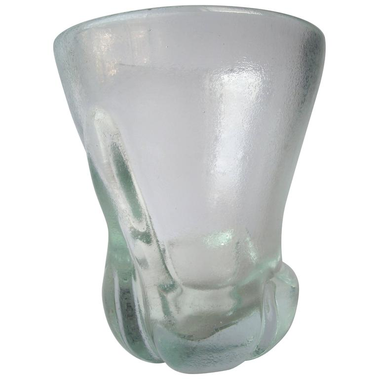 "Calo Scarpa ""Corroso Vase"" by Venini Murano Glass, Signed For Sale"