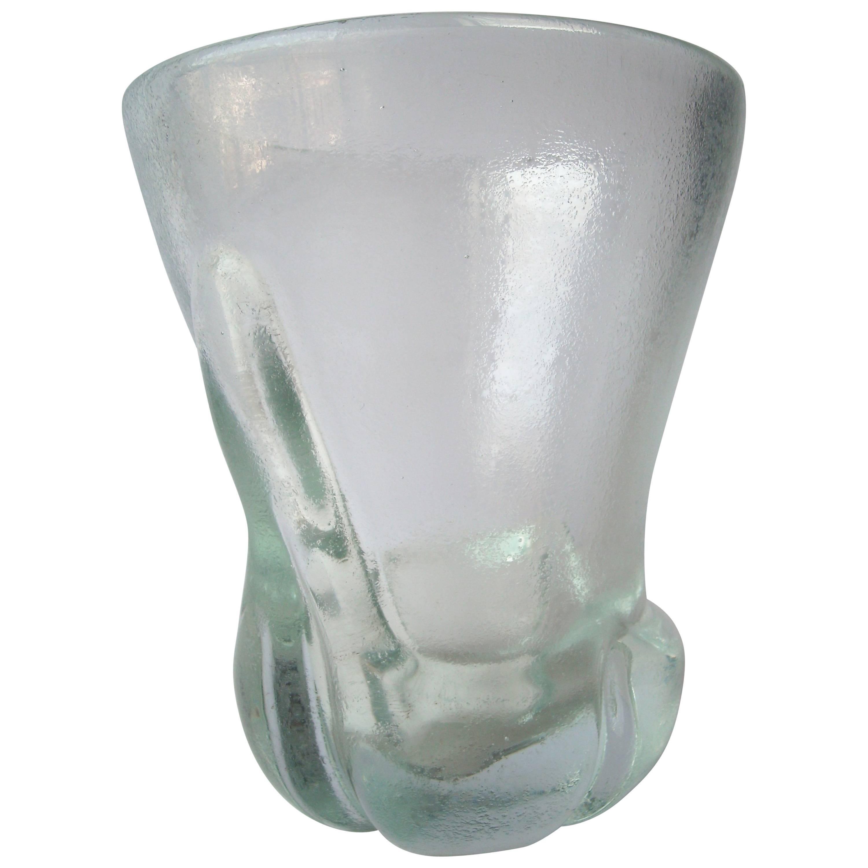 """Calo Scarpa """"Corroso Vase"""" by Venini Murano Glass, Signed"""