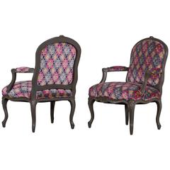Pair of Antique French Louis XV Style Painted Armchairs, circa 1875