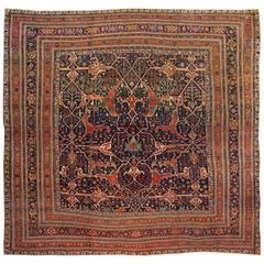 Antique Persian Bidjar Square Rug
