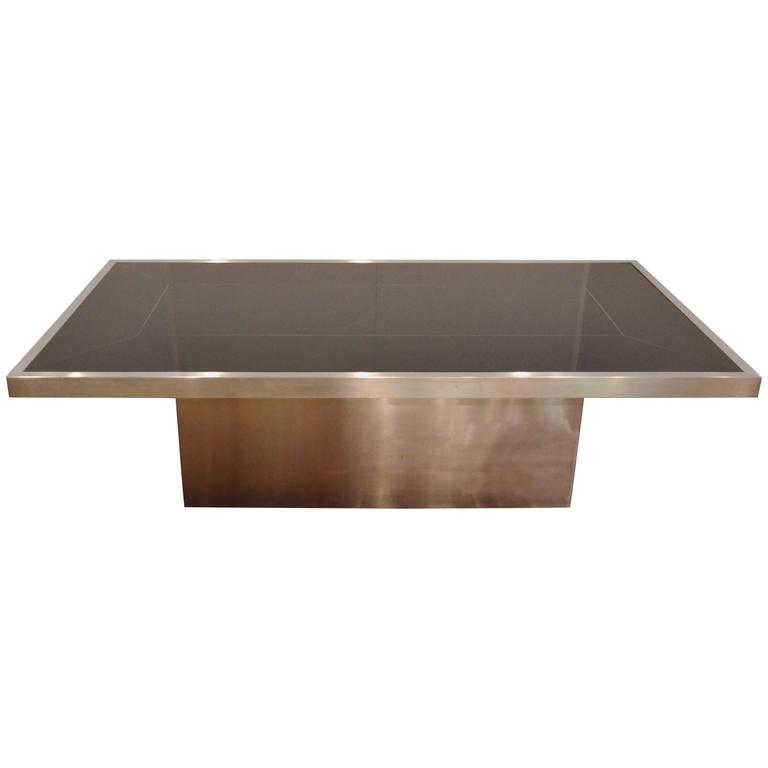 Black Glass and Brushed Aluminum Dining Table, Attributed to Willy Rizzo, 1970s