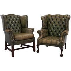 Pair of Original 1960s Chesterfield Hand Dyed Green Leather Wingback Armchairs
