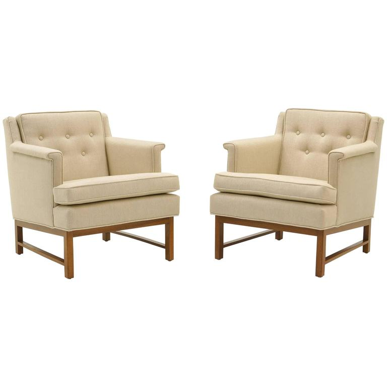 Pair of Edward Wormley for Dunbar Lounge Chairs in Perfect Condition