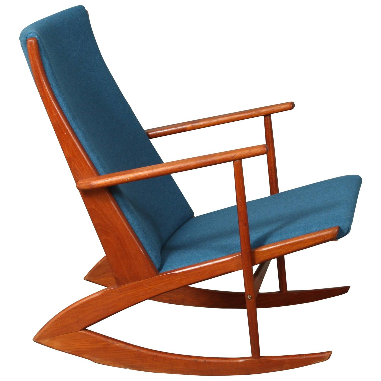 Holger Georg Jensen Model 97 Rocking Chair Blue at 1stdibs