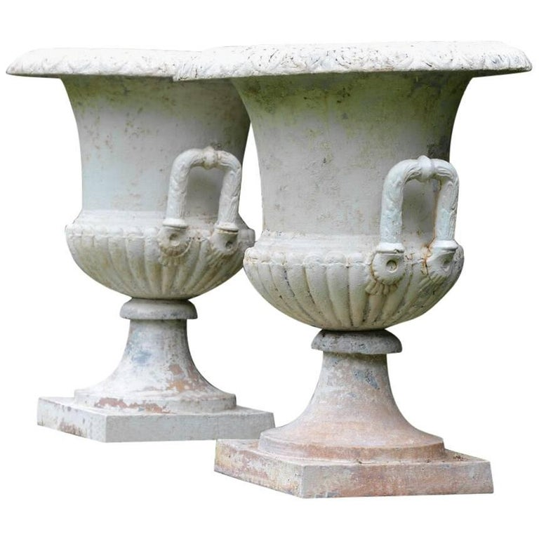 Cast-Iron Campana Form Urns 1