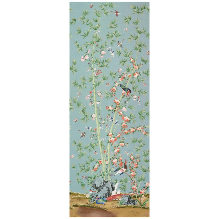 Schumacher Miles Redd Brighton Pavilion Chinoiserie Multi-Color Wallpaper Panel For Sale