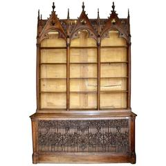19th Century French Gothic Bookcase or Open Cabinet