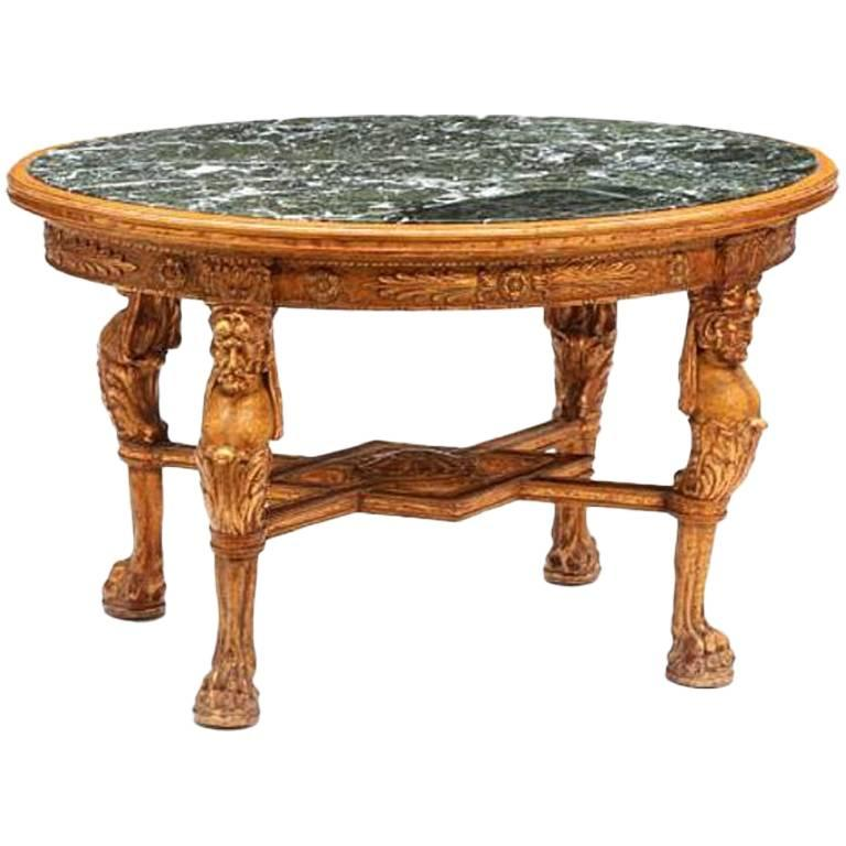 Regence Style Giltwood and Marble Oval Low Table
