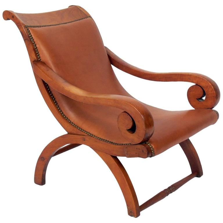 Butaque Leather Lounge Chair in the Manner of William Spratling
