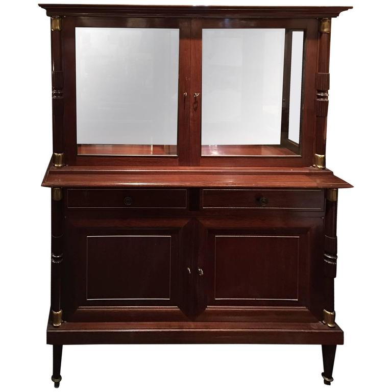 French Directoire Sytle Mahogany Cabinet With Glass Doors 19th