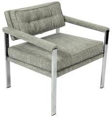Mid-Century Chrome Lounge Chair in the Manner of Milo Baughman
