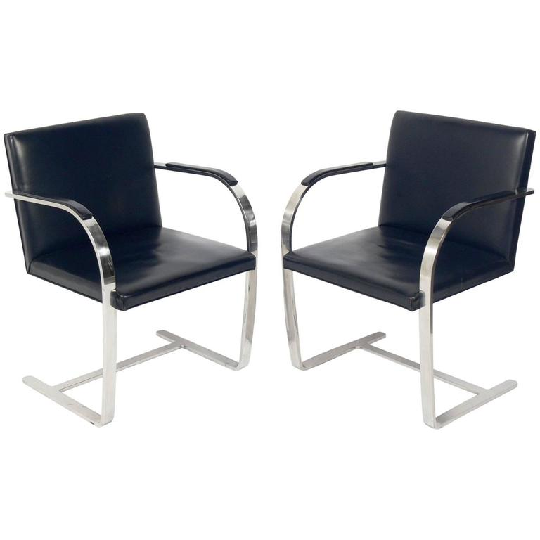 Pair of Brno Chrome Chairs by Mies Van Der Rohe for Knoll For Sale
