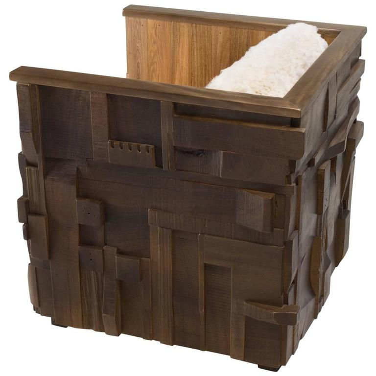 Boom arm chair, contemporary wood collage texture w/brutalist flair, IN STOCK.