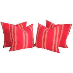 19th Century Red Stripped Ticking Pillows/Pair