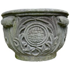 Composition Stone Planter with Foliate Motifs