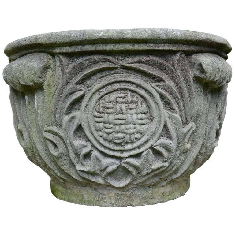 Composition Stone Planter with Foliate Motifs 1