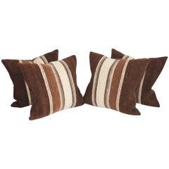 Rare 19th Century Alpaca Striped Weaving Pillows