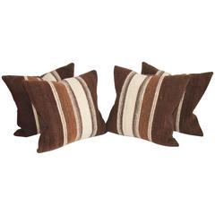 Rare 19th Century Alpaca Striped Weaving Pillows