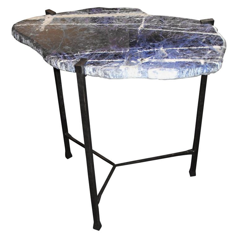 Sodalite Slab Top with Custom Oil Rubbed Iron Base