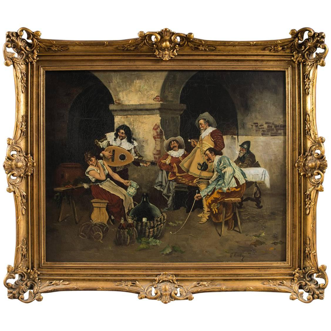 Oil Painting of Musketeers in an Interior