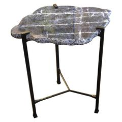 Small Sodalite Slab Top with Custom Oil Rubbed Iron Base