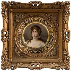 Very Fine 19th Century Royal Vienna Framed Plate of Queen Louisa