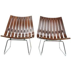 Rosewood Pair of Scandia Lattice Lounge Chairs by Hans Brattrud for Hove Möbler
