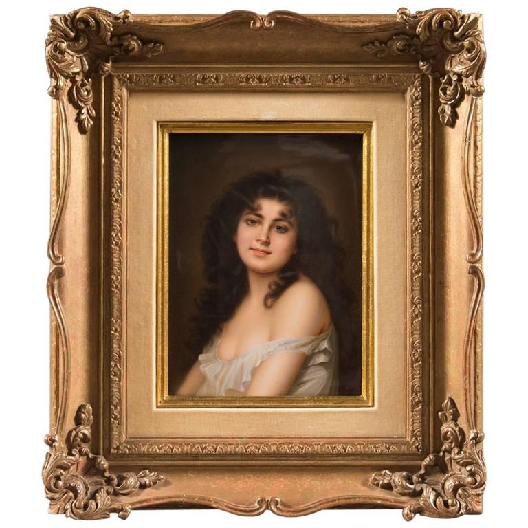 Very Fine 19th Century K.P.M Plaque Depicting a Young Beauty/Framed