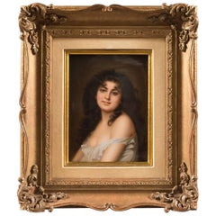 Very Fine 19th Century KPM Plaque Depicting a Young Beauty/Framed