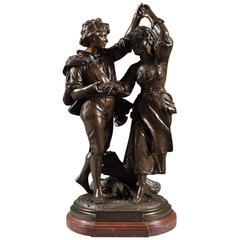 Fine 19th Century, French Patinated Bronze Group by Alfred Boucher