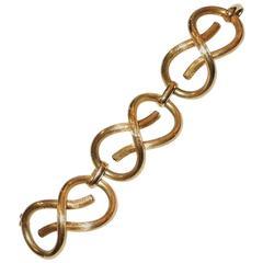 Cool Elegant Mid-Century Modern Deco 18-Karat Gold Large Link Bracelet
