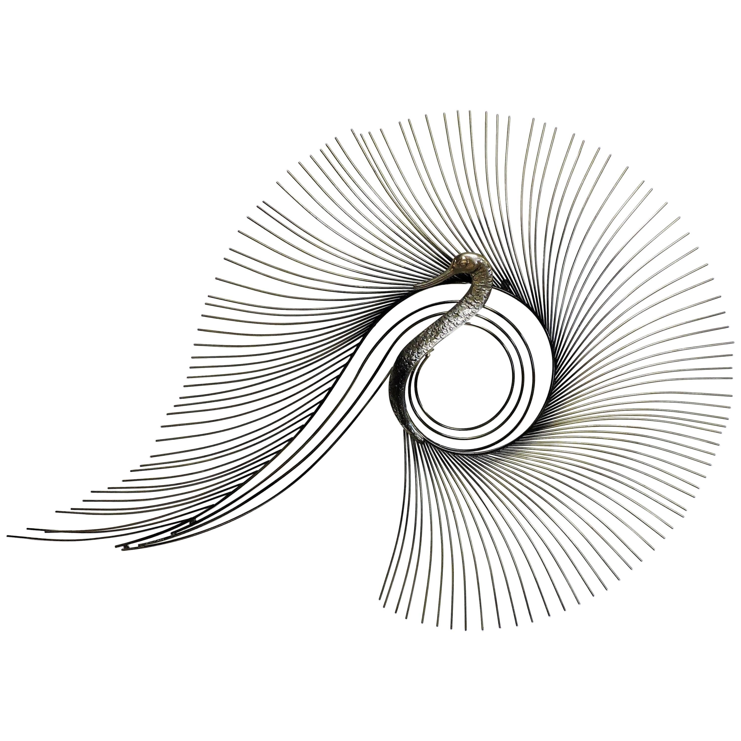 curtis c jere vintage peacock brass bird of paradise wall art 1970s Interior Decor curtis c jere vintage peacock brass bird of paradise wall art hanging chrome for sale at 1stdibs