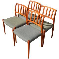 Niels Otto Møller Teak Dining Chairs Model #83 For J.L. Moller, Set Of Four