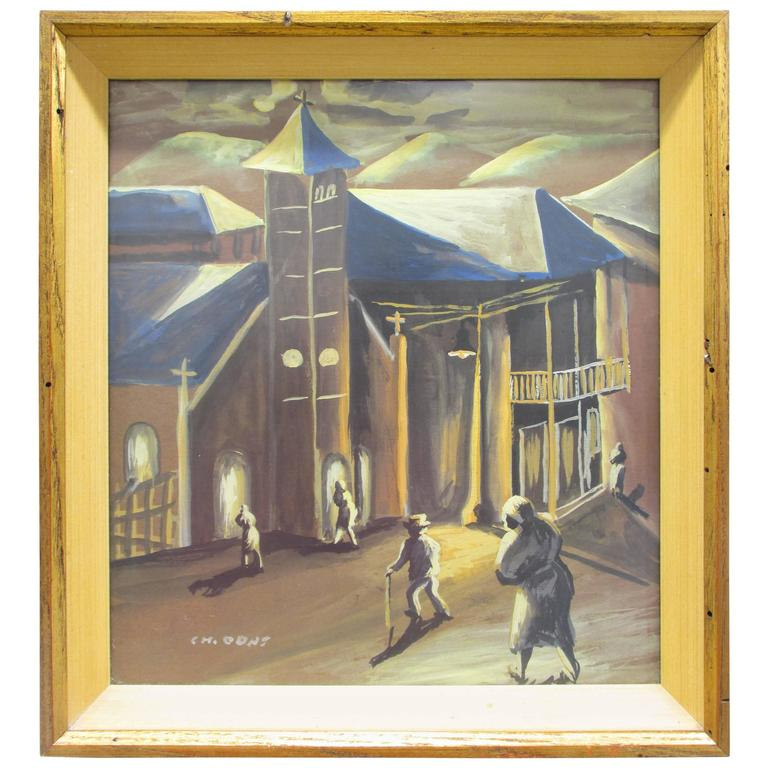 Village Church Painting by Charles Odat