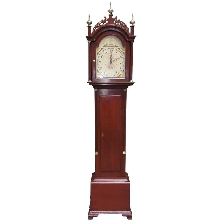 American Federal Mahogany Tall Case Clock, Silas Hoadley, CT, Circa 1820