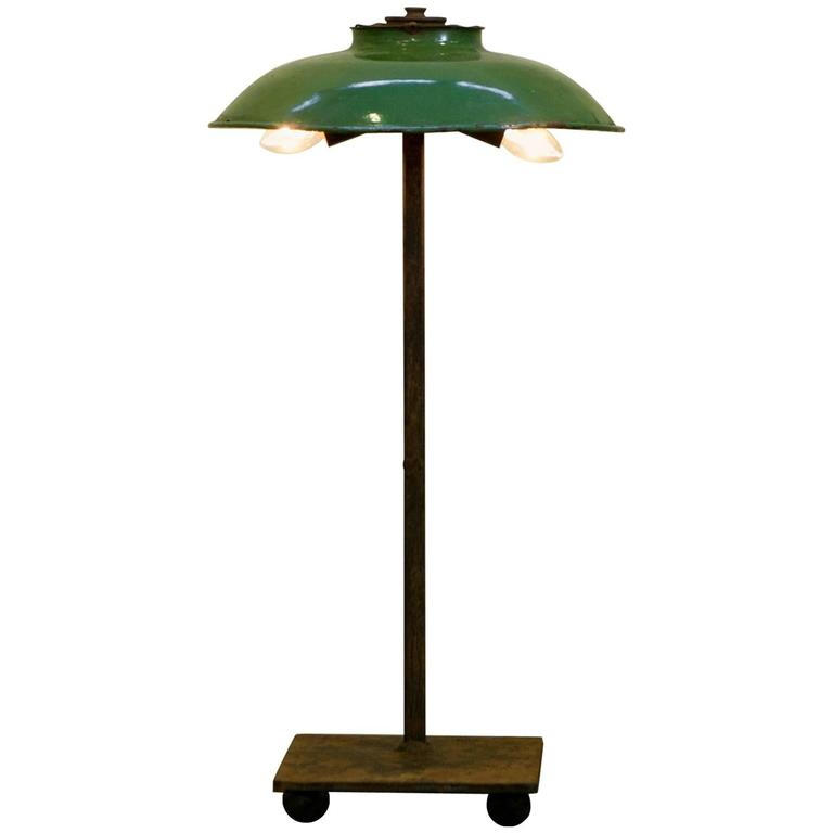 One of a Kind Iron Table Lamp with French Green Enamel Shade, circa 1940