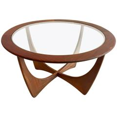 Danish Modern Walnut and Glass Atomic Round Coffee Table