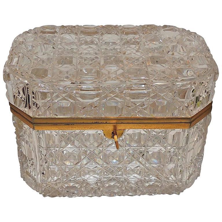 Wonderful Large French Baccarat Bronze Hexagon Cut Crystal Casket ...