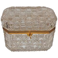 Wonderful Large French Baccarat Bronze Hexagon Cut Crystal Casket Jewelry Box