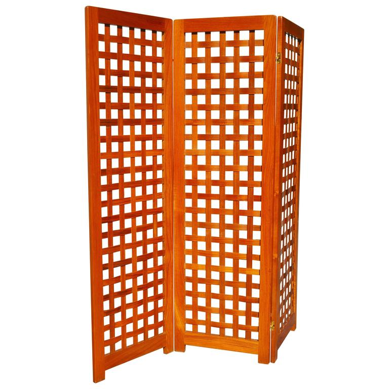 Danish Modern Teak Tri-Fold Screen or Room Divider with Basket Weave Design 1