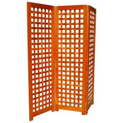 Danish Modern Teak Tri-Fold Screen or Room Divider with Basket Weave Design