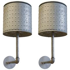 Pair of Custom, One of a Kind Vintage Industrial Galvanized Sconces
