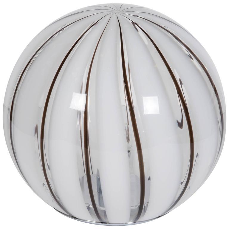 Italia 1970s Striped Glass Globe Table Lamp