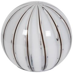 Italia 1970s Striped Glass Globe Table Lamp