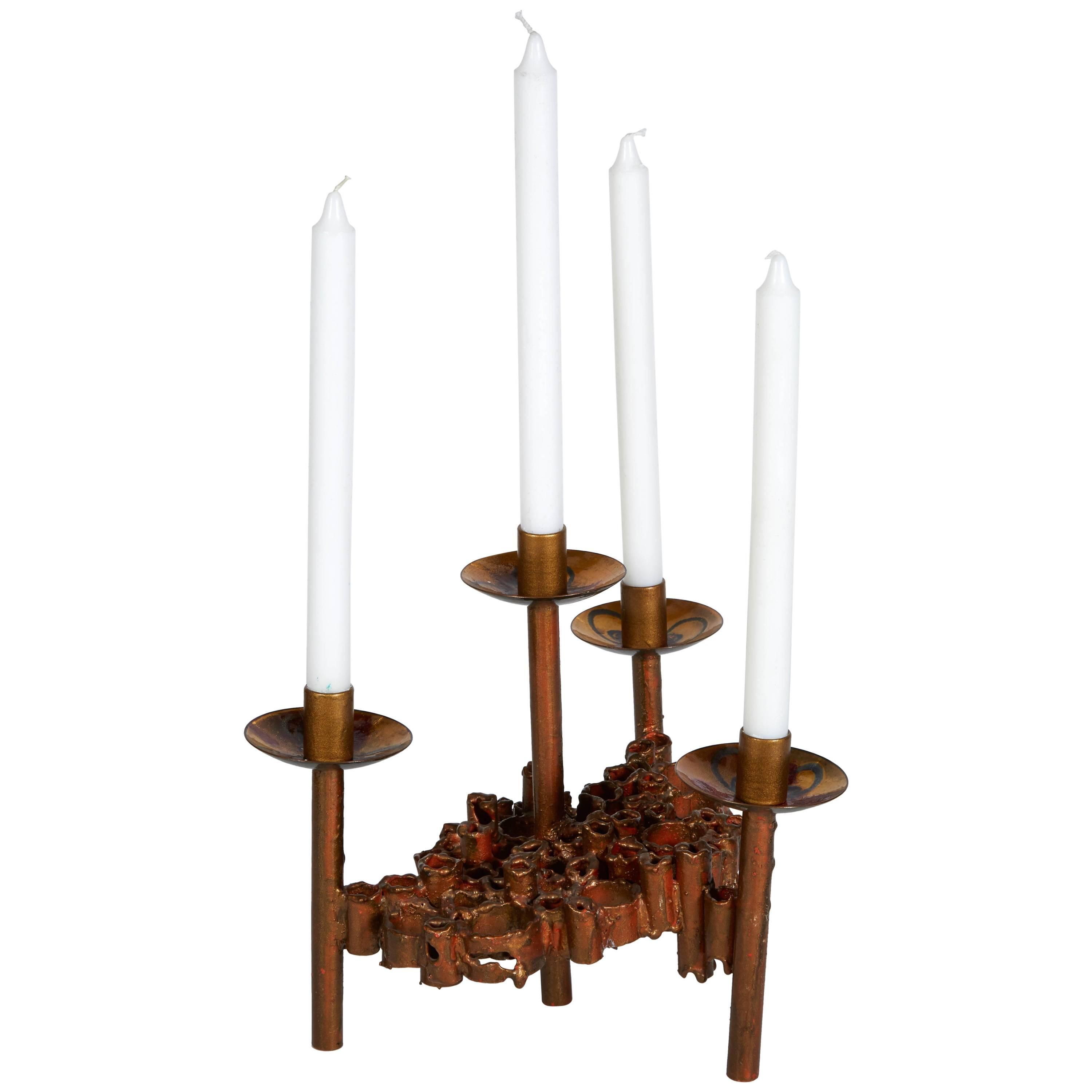 Pair Of 1960S Modern Brass And Copper Sculptural Candleholders After