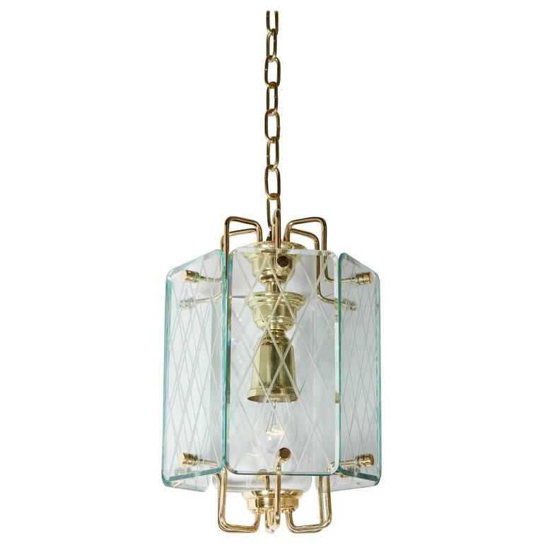 Italian Etched Glass Panel and Brass Lantern, 1950s